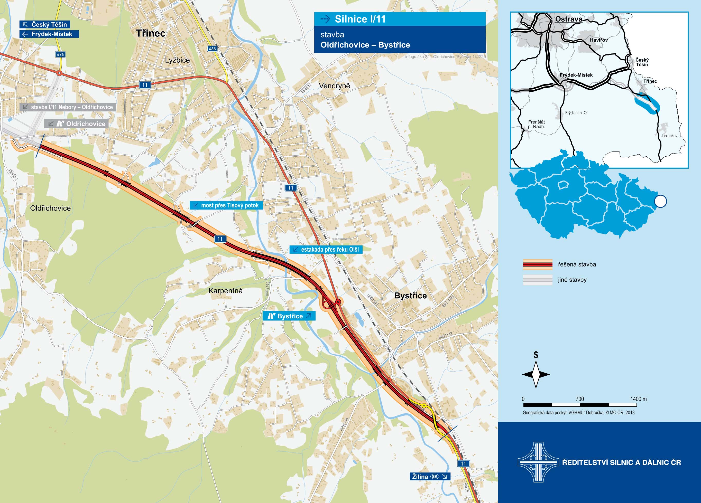 Mapa stavby silnice I/11 Oldřichovice - Bystřice