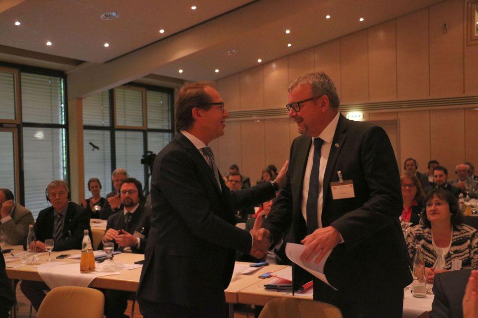 Spolkový ministr dopravy Alexander Dobrindt  a český ministr Dan Ťok