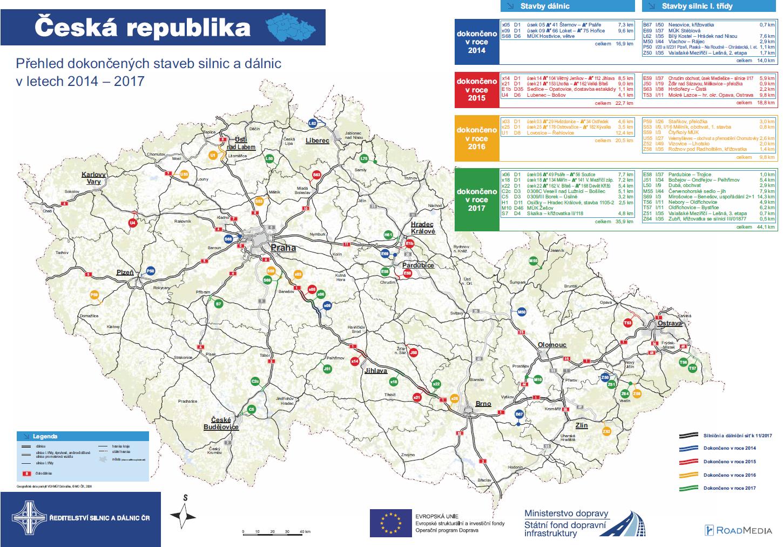 Mapa dokončených staveb