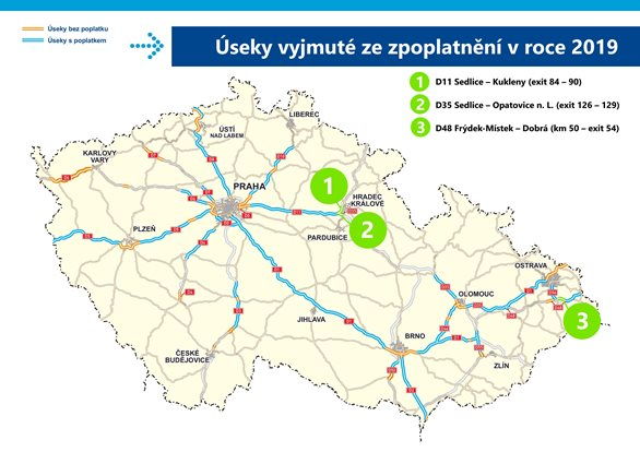 The D11 and D35 motorways by Hradec Králové and D48 by Frýdek-Místek will be free of charge